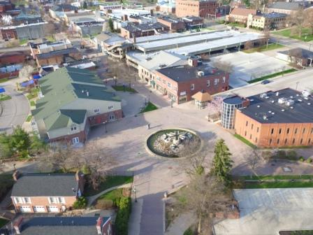 Cuyahoga Falls Downtown Transformation Design-Build Project. - Projects - Hammontree and Associates - Cuyahoga_Falls_drone_pic(1)